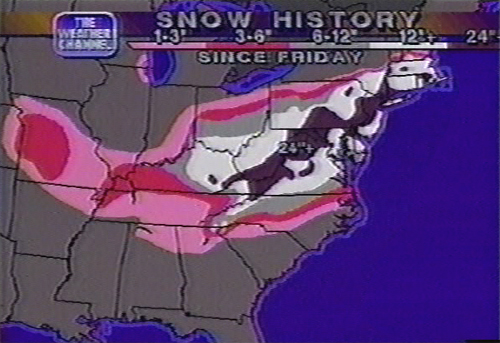 Snow Totals from 0600Z 9 January 1996 (1AM EST 9 January 1996)