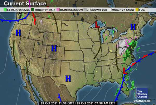 Snow storm October 2930 2011 Surface Maps