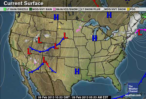 Snow And Ice Storm February Surface Maps - Us fronts map before ice storm