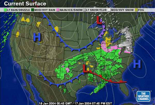 National Radar Weather Map Snow and ice storm, January 17 18, 2004   Surface Maps